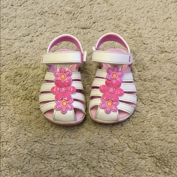 Stride Rite Shoes Toddler Girl Sandals White With Pink Flowers